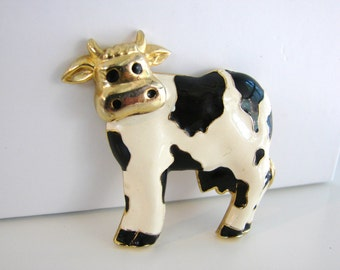 Vintage gold, black and white cow brooch (G6)