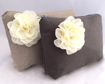 Gift for Bridesmaids Gift Bag with flower in Charcoal linen with ivory flower Gift for Bridesmaids- READY TO SHIP