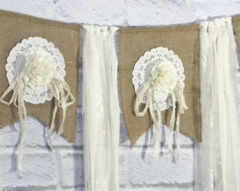 Handmade Burlap Wedding Garland, Tattered Fabric Backdrop, Rose Bunting with Tattered Streamers Lace Banner