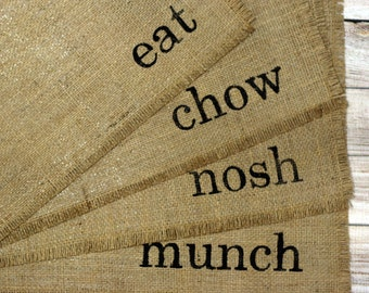 Reversible Handmade Burlap Placemats (4) Every Day Place Mats, Hand Painted Lettered Table Mats