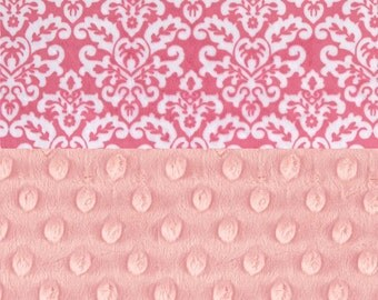 48 x 60 Minky Toddler Blanket,  Personalized Hot Pink Damask
