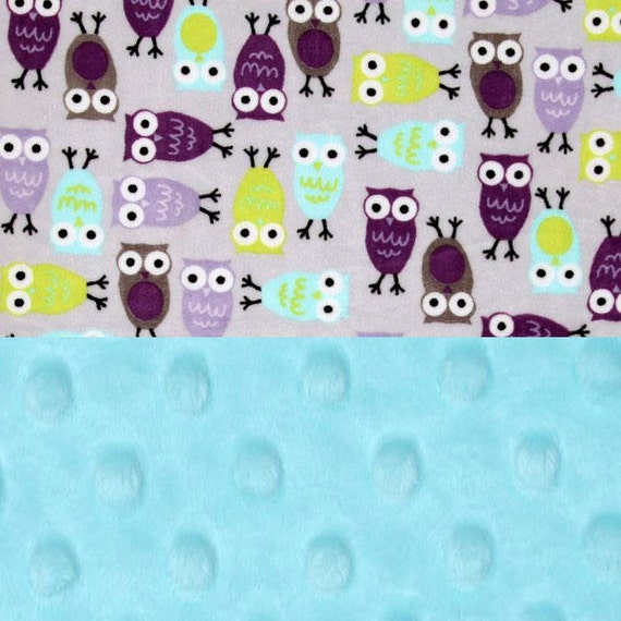 Owl Baby Blanket, Baby Girl Minky Baby Blanket, Lavender Gray Personalized Baby Blanket, Name Baby Blanket, Baby Shower Gift, Kids Blanket