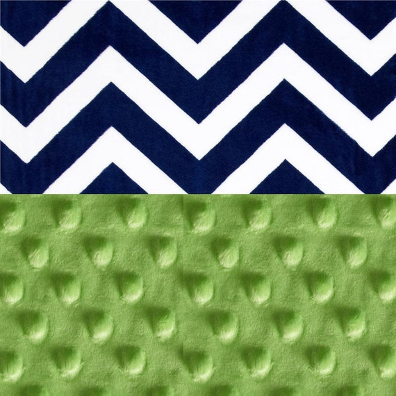 Personalized Baby Blanket - Minky Baby Blanket Boy, Bright Green Navy Chevron Baby Blanket // Baby Shower Gift // Name Baby Blanket
