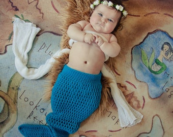Baby Mermaid Tail,  Photo Prop, Newborn to 3 month, 3 to 6 month, 6 to 12 month size