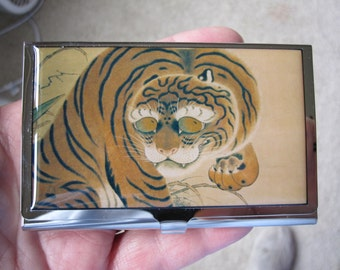 Ancient Chinese Art Tiger Brass Business Card Case