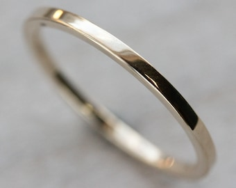 Square Women's Wedding Band - Square Stacking Ring - Delicate Thin Minimalist Ring - Eco-friendly Gold Ring