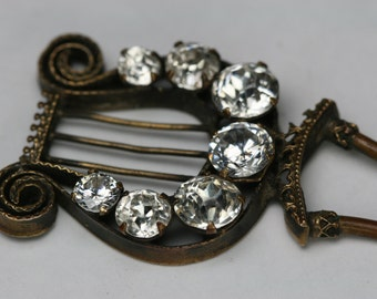 Antique Gold Tone and Glass Stone Hair Pin