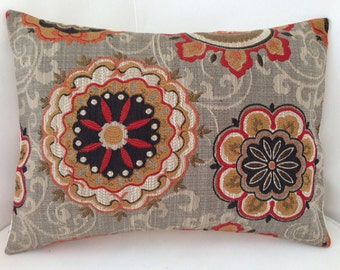 Decorative Throw Pillow Cover Suzani Pillow Brown Orange Cushion Accent Lumbar Pillow