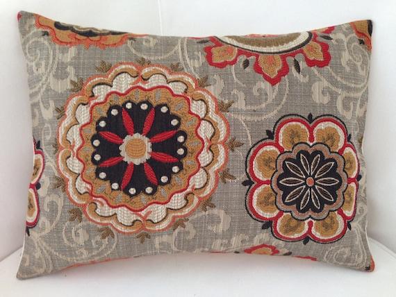 Brown Throw Pillows Etsy : Decorative Throw Pillow Cover Suzani Pillow Brown Orange