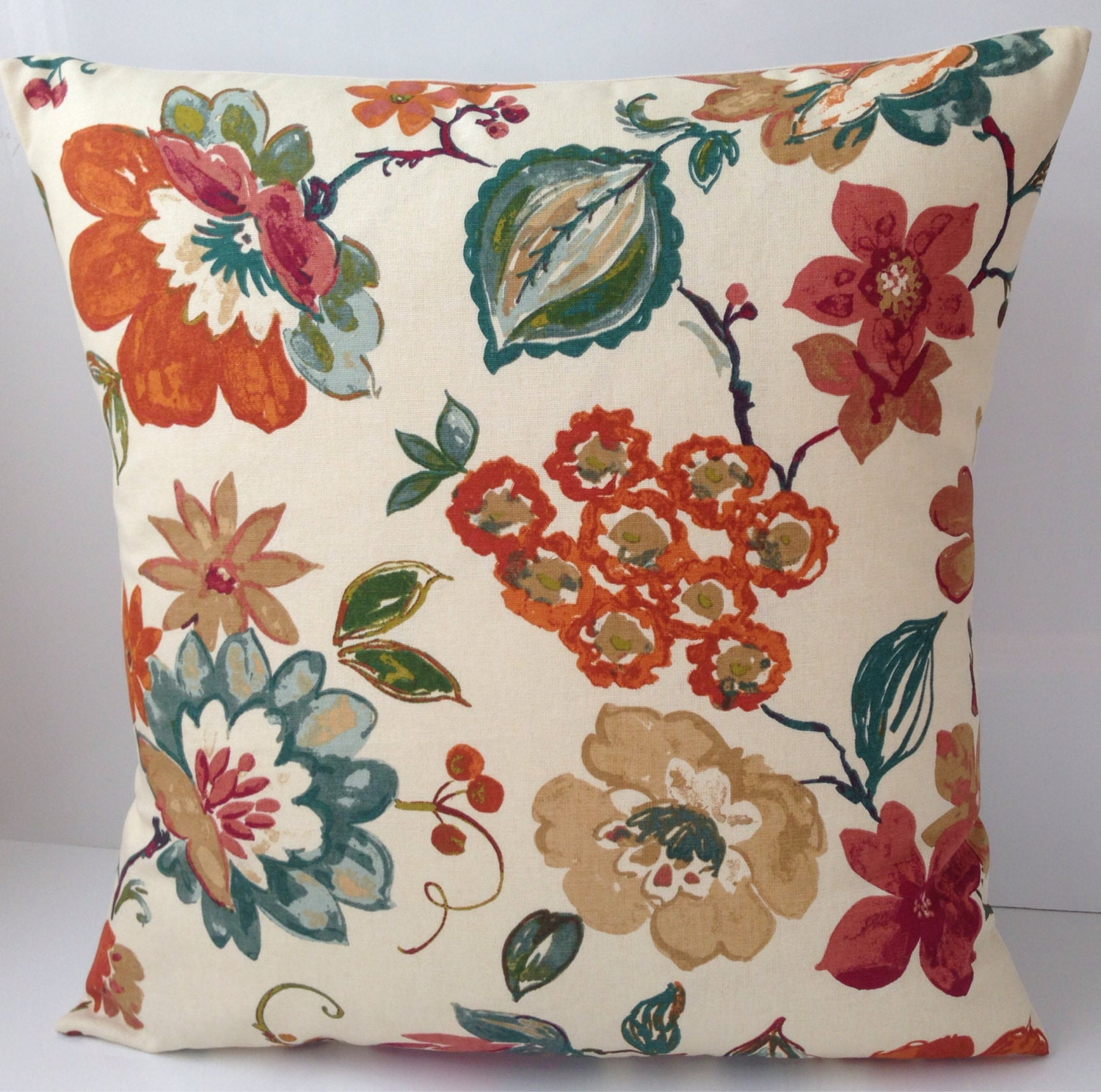 Teal And Orange Decorative Pillows : Decorative Throw Pillow Cover Teal Orange Pillow Cushion