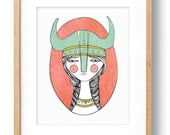 Viking Warrior Girl Illustration Digital Drawing Art Print Poster Wall Art Portrait Female Warrior Viking Helmet Kids Room Bedroom Decor
