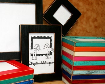 """9x12 picture frame, Colored frame, Black photo Frame, weathered frame, Distressed frame, colorful fun frame, shabby frame, 67 colors 1.5"""""""