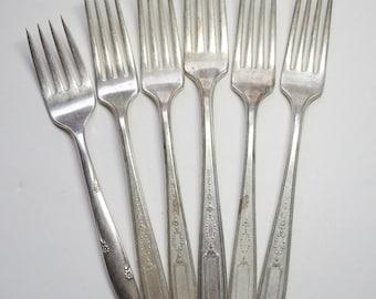 6 Vintage Community Plate Silver Plated Forks
