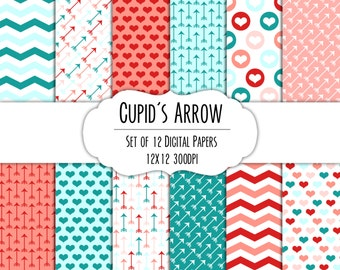 Cupid's Arrow Valentine Digital Scrapbook Paper 12x12 Pack - Set of 12 - Arrows, Hearts, Chevron - #8219