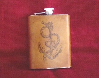Handcrafted Leather Bound 8oz. Stainless Steel FLASK
