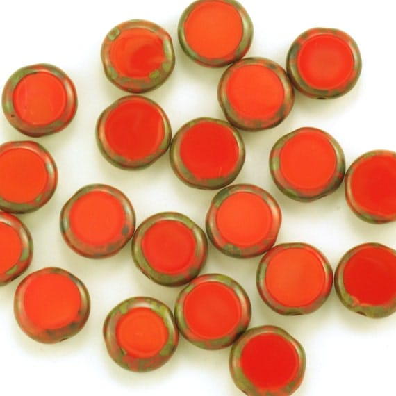 Czech Glass  Opaque Coral Red Picasso Coin Beads 10mm - 15
