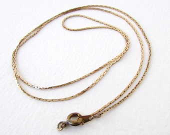 Vintage Brass Necklace Cobra Chain Delicate Finished Finding 24 inch vfd0259 (1 piece)