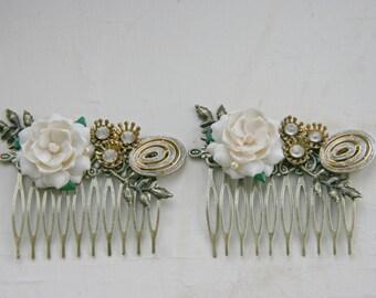 White Rose Gold Flower Vintage Hair Comb