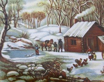 """Currier & Ives vintage """"A Home in the Wilderness"""" signed Wecnzel tile/trivet"""