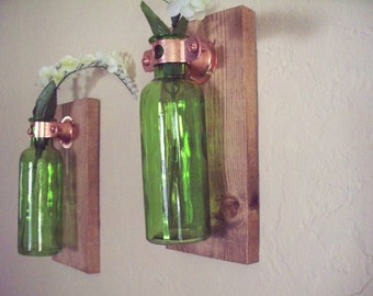 Wall Decor set of 2 colored glass bottles on rustic wood boards. Home decor. Bedroom decor. Housewarming gift. Wedding gift.