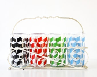 Thirsty for Color - Vintage Glassware - Set - Retro - Kitchen - 50s - Geometric