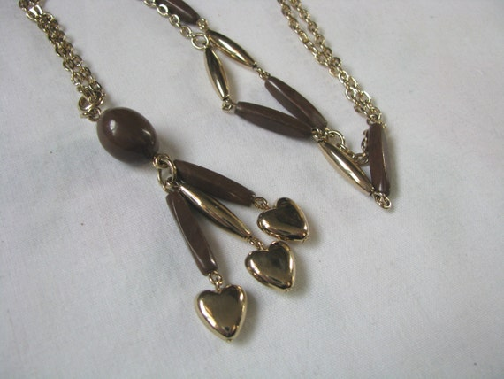 limbo jewelry limbo gold brown bead tassel vintage necklace by 4189