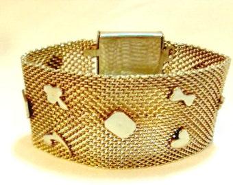 Wide Mesh Bracelet with Hearts, Diamonds, Dog Bones, Star and other Symbols