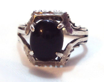 Vintage Sterling Silver Black Onyx Ring size 6