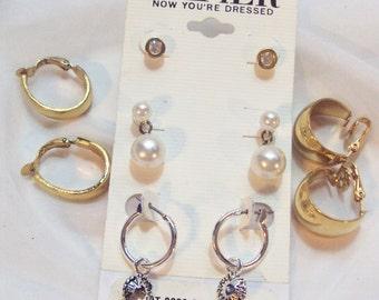 Vintage Earring Lot 5 Pairs, Napier, Crown Trifari, Clip, Pierced