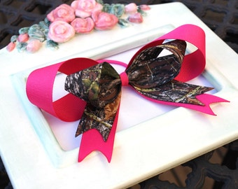 Shocking Pink and Mossy Oak Breakup Camo Girls Ponytail Holder