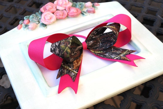 Clearance Sale Shocking Pink and Mossy Oak Breakup Camo Girls Ponytail Holder