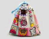 Small Tote Bag Drawstring Pouch Kawaii Food Snacks Mini Purse Makeup Bag for Teens Women