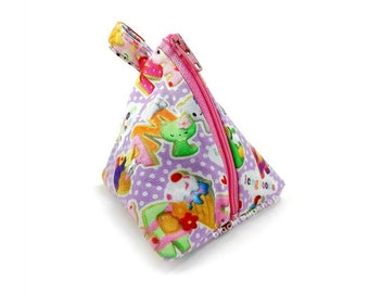 Small Coin Pouch Change Purse Cute Triangle Bag Kawaii Pastel Lavender Lilac Polka Dot Japanese Fabric Icing Cookies