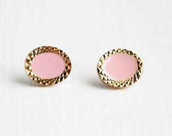 Pink Oval Starburst Studs