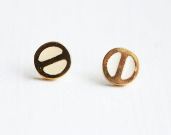 White and Gold Split Circle Studs