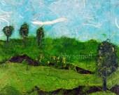 Landscape Art - Original Paper Collage - Springtime - 5 x 5