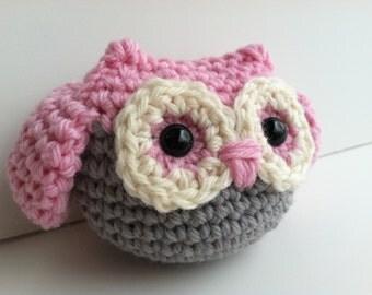 Amigurumi Crochet Owl Plush Toy - Baby Pink Plushie Owl Nursery Decor Baby Shower Gift Gift Under 25 Woodland Nursery Kawaii Plush Owl Toy