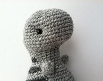 Amigurumi Crochet Heather Gray & Charcoal Gray Plush T-Rex Toy Stuffed Animal Dinosaur Nursery Decor Plushie T-Rex Kawaii Plush Dinosaur