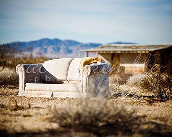 Abandoned Couch in the Desert Photography Metallic Print