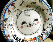 Original hand painted decorative porcelain plate   Kitty with birds OOAK by miliaart studio
