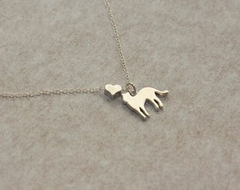 I LOVE CATS Silver dainty Necklace, Cat and Heart charms, Minimal and Modern, Jewelry Gifts, Summer Trend, Silver Necklace, Cute necklace