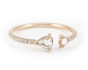 Rose Cut Diamond, Diamond Ring, Pave' Ring, Prong Set ring, 14K Gold, Engagement Ring, Split Ring, Duble Diamond Ring, Pear Shape Diamond.
