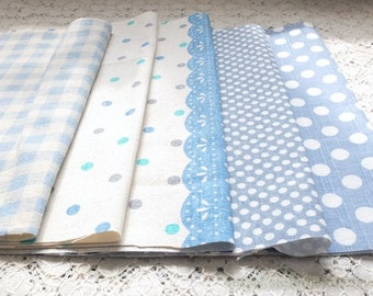 S076 Linen Fabric Scraps Bundle Set - Simple Blue Colorway Dots Polka Dots Geometry Triangle Flags Lace Doily (5PCS, 9.8x9.8 Inches)