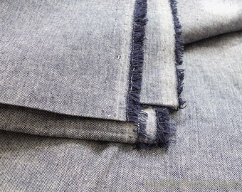 Solid Fabric, Retro Natural Simple Dark Blue-Japanese Dyed Linen Cotton Blended Fabric(1/2 Yard)