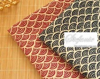 Japanese Traditional Cotton Fabric-Geometry Black Ocean Waves On Dark Beige (Fat Quarter)