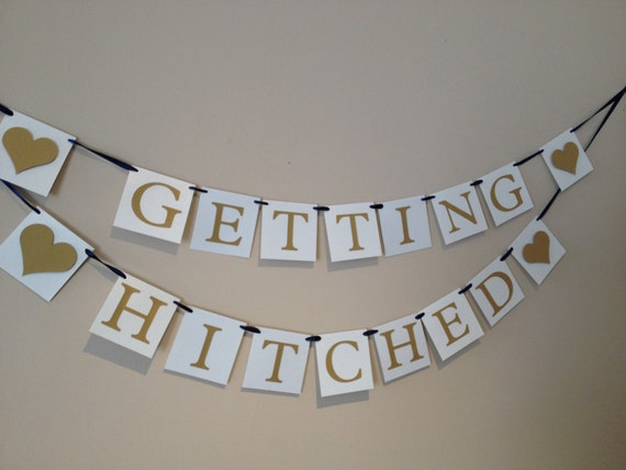 getting hitched engagement wedding banner navy ribbon