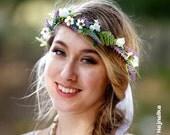 hair accessories wildflower crown wreath greenery circlet purple lavender wild montecasino mini daisies silk bridal destination wedding boho