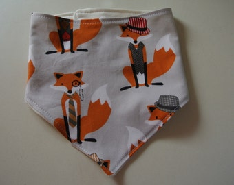 Baby Bandana Bib with Bamboo Fleece -  Trendy Foxes- Soft Absorbent Baby Bib