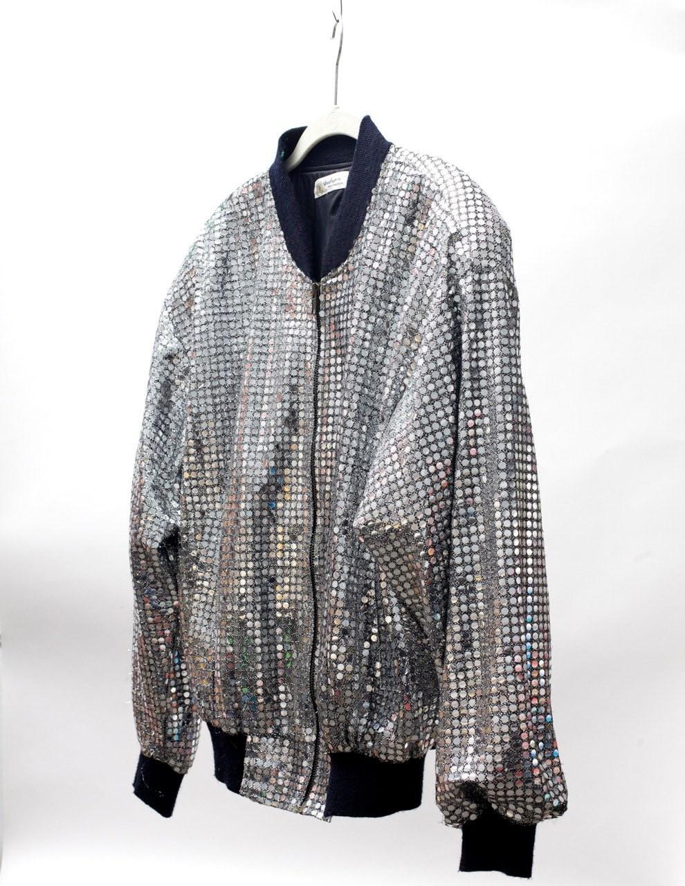 Silver Sequin Jacket vintage 90's Medium