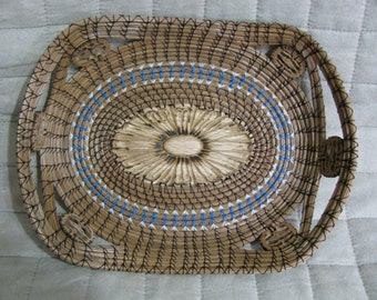 Daughter Pine Needle Basket with Turquoise Thread Accent